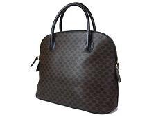 Authentic CELINE MACADAM PVC Canvas Leather Brown Hand Bag CH14480L