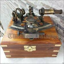 Nautical Brass Collectible Antique Working German Marine Sextant w/ Wooden Box