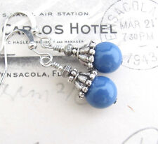 LAPIS BLUE EARRINGS using Swarovski Crystal Pearls Silver Tone Dainty Pierced