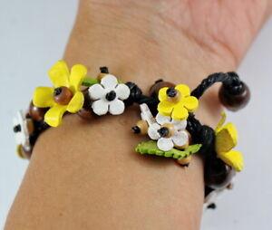 Yellow Handcraft Genuine Leather Bracelet Flower Bangle Women Jewelry Fashion