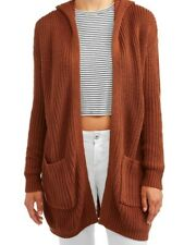 No boundaries Junior Hooded Lace Up Cardigan Rust  color size X Large