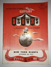 1951 ORIGINAL CLEVELAND BROWNS vs NEW YORK GIANTS PROGRAM 10/28