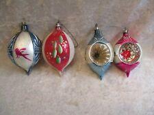 4 Vintage Poland Mercury Glass Ornaments - 2 Deep Indents, 2 Teardrops