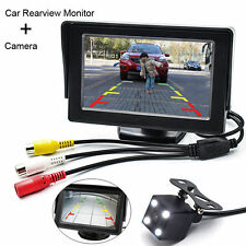 4.3'' LCD Car Rearview Monitor Parking Backup Reversing Camera Night Vision 4LED