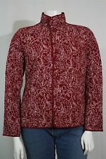 Talbots Woman Plus 1X Red White Floral Reversible Quilted Light Jacket