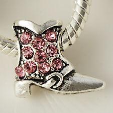 wholesale Silver metal spacer Shoe Pink Crystal european beads fit bracelet