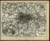 London city plan United Kingdom Great Britain 1853 Meyer detailed map