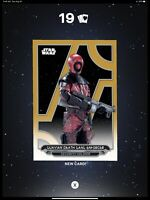 Topps Star Wars Card Trader GALACTIC FILES 19 GOLD Guavian Death Gang  (25cc) W3