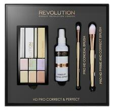 MAKEUP REVOLUTION COLOUR CORRECTOR Cream Concealer, FIXING SPRAY & Brushes SET
