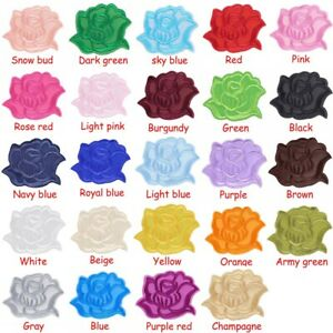 10-100Pcs Rose Patch Iron-On/Sew-On Embroidered Applique Repair Clothing Badge
