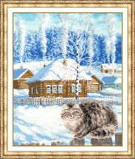 Counted cross stitch kit Kitty It Was Winter Cat Snow by Golden Fleece