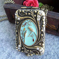 Vintage Retro Copper Flower Rhinestone Bird Locket Pendant Necklace Chain HF