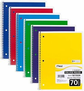 Spiral Notebooks, 1 Subject, College Ruled Paper, 70 Pack of 6 Assorted Colors