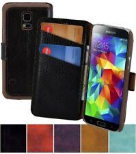 Samsung Galaxy S5 Mini Funda Libro de Bolsillo Cuero Natural Cubierta Protección