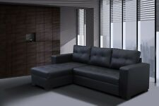 - Giani Leather Corner Sofa Bed Black Living Room Furniture Modern