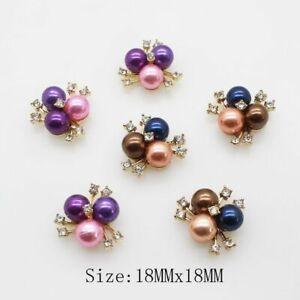 Colored Rhinestone Pearl Button Flatback Hair Flower Center Crystal Craft Clothe