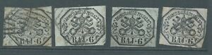 PAPAL STATES 1852 SG22/24 6b group x 4 good to fine used