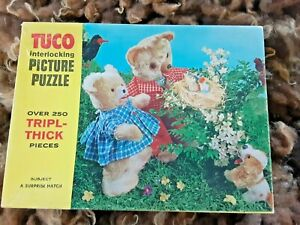 """RARE! Tuco Teddy Bear Puzzle Vintage """"Surprise Hatch"""" Bluebird over 250 pc Thick"""
