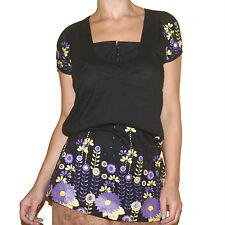 TUNIKA BLUSE Hippie Cotton schwarz-lia Blumen-Muster Gr.38 M