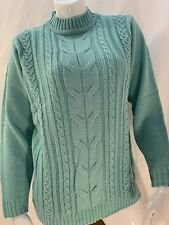 New Womens Haband Medium Sky Blue Long Sleeve Knit Sweater Shirt Top