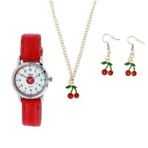 Relda Kids Girls Red Cherry Design Watch & Jewellery, Necklace and Earrings Gift