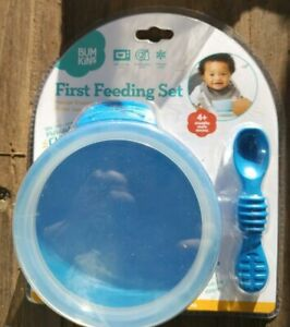 Bumkins Baby First Feeding Set with Bowl, Spoon and Lid  BLUE