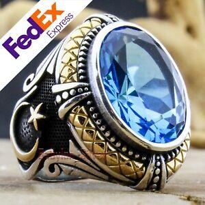 Turkish Handmade 925 Sterling Silver Aquamarine Stone Ottoman Men Ring All Sizes