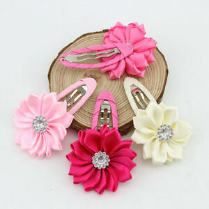 2pk - Mini Satin Rhinestone Flower Hairclips Baby Girl Hair Accessories