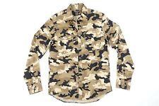 Michael Kors Camuflaje Militar Marrón Medio Delgado Elástico Botón Camisa Hombre