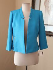 NWT Cute Kasper Blue Gold Open Front Blazer Jacket Size 2P P2 Embossed New
