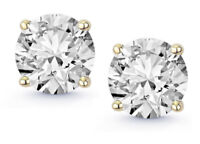 1.05 CTW F SI1 Real 100% Natural Diamond Round Cut Stud Earrings 18K Yellow Gold