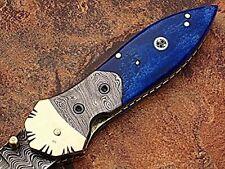 Damascus Steel Pocket Knife Dark Blue color Bone handle AT-1508