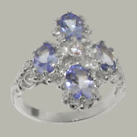 925 Sterling Silver Cubic Zirconia & Tanzanite Womens Cluster Ring