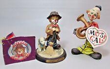 "Lot of 2 - Little Emmett Kelley Jr. Clown figurine ""Sweeping Up"" and Musical"