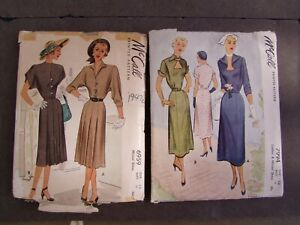 McCall Vintage Dress Patterns 6959, 7994, Size 18, 1947 1950