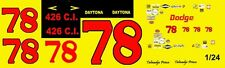 #78 Talmadge Prince Dodge Charger 1970  1/24th - 1/25th Scale Waterslide Decal