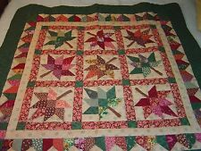 "AMISH GREEN,BROWN ""AUTUMN LEAF"" WALLHANGING QUILT 45""- 45"""