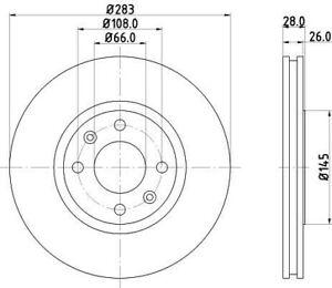 2X Front 283mm Brake Discs (Pair) Unipart For Peugeot - 406 & CITROËN Xantia