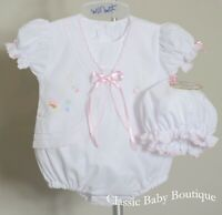 NWT Will'beth White Pink Baby Girls Butterfly Bubble Romper Cap Newborn Size 0