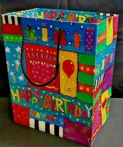 "Happy Birthday Gift Bag Cake Balloons Stars Black Rope Handles 10"" T x 8"" W"