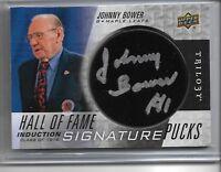 2017-18 Upperdeck UD Trilogy Hockey Johnny Bower Hall of fame signature pucks