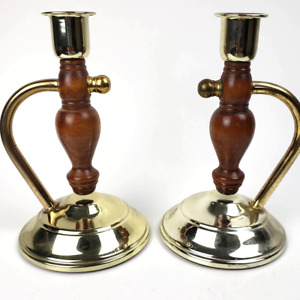 """Set 2 Vintage Metal & Wood Candle Stands Candle Stick Holders Home Interior 7.5"""""""