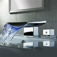 LED Waterfall Bathroom Basin Faucet Tub Spout Vanity Sink Mixer Tap Deck Mounted