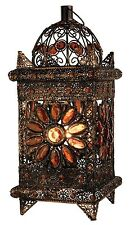 Bronze Ornate Vintage Amber Jewelled Moroccan Lantern Style Metal Table Lamp NEW