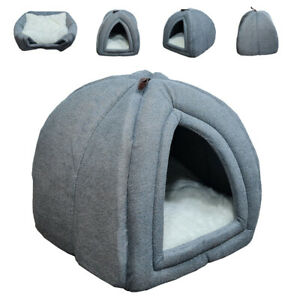 Cosy Pet Tent Cave Bed Cats Small Dogs 2-In-1 House Washable Cushion Grey UKED.
