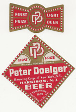 Peter Doelger Brewing First Prize Beer label with neck Irtp Harrison Nj