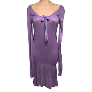 New Peppe Peluso 100% Viscose Sweater Dress M Lavender Tie Front Balloon Sleeve