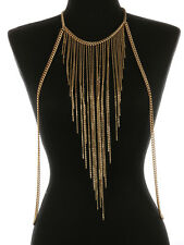 "16"" gold fringe tassel choker necklace swimsuit bra jewelry body chain armor"