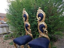 2x Rococo Chair High Back Gold Black Throne Hallway Swirl Velvet HIRE ONLY
