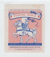 France Cinderella stamp 4-22-21- WWII United Nations Stamp mnh corner crease
